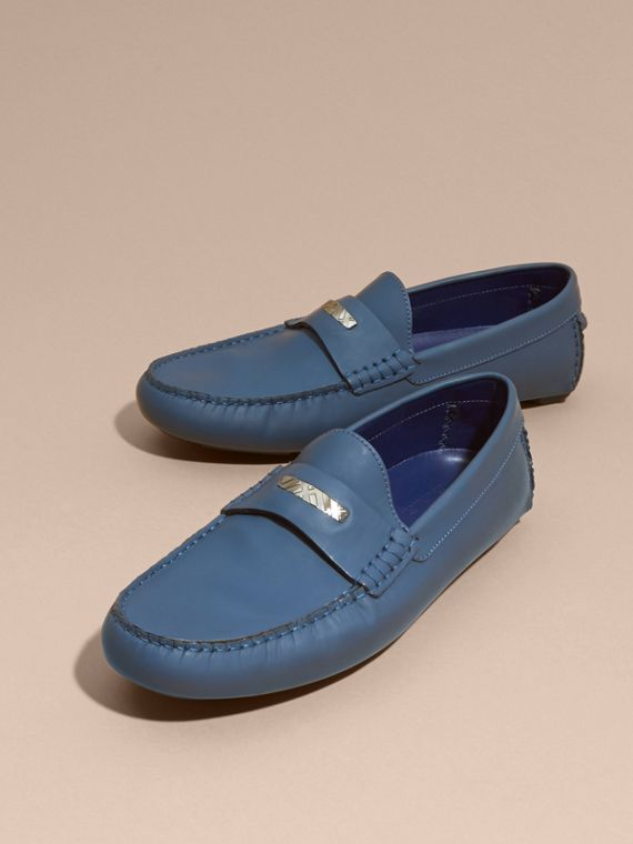 Leather Loafers with Engraved Check Detail Dark Mineral Blue - cell image 3