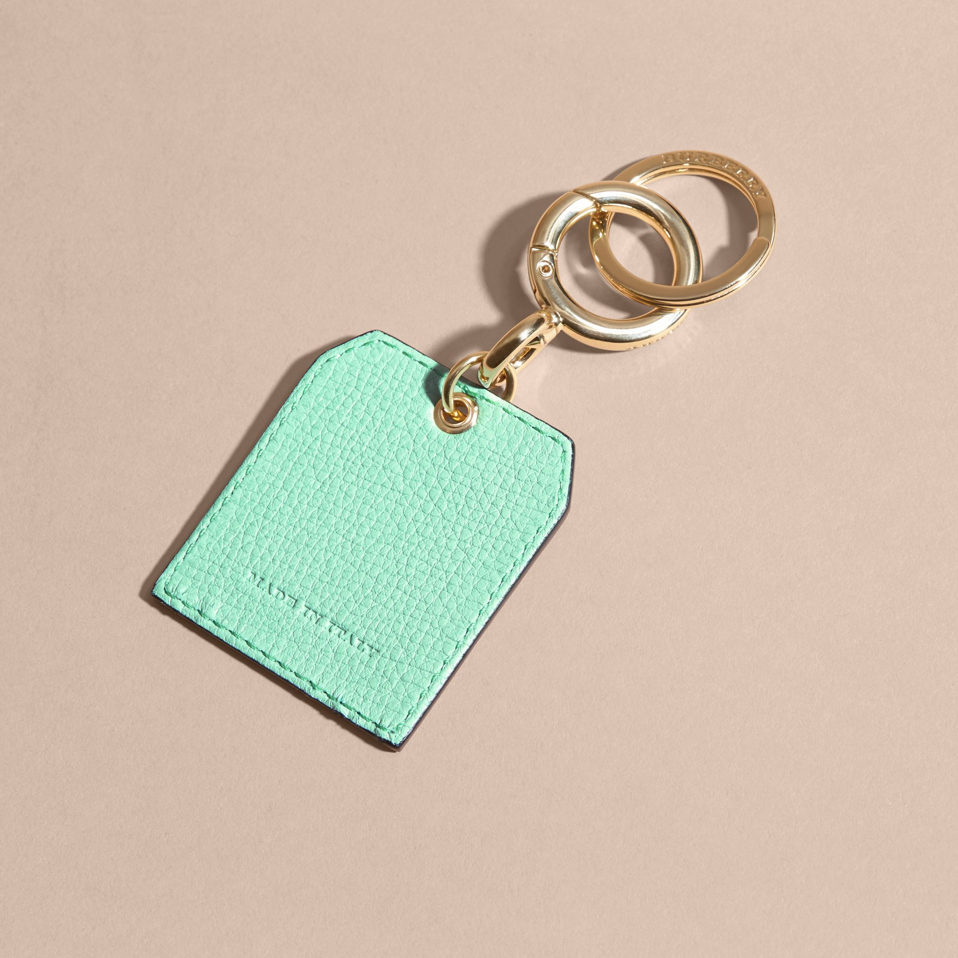 Grainy Leather Key Charm in Light Mint | Burberry - gallery image 4