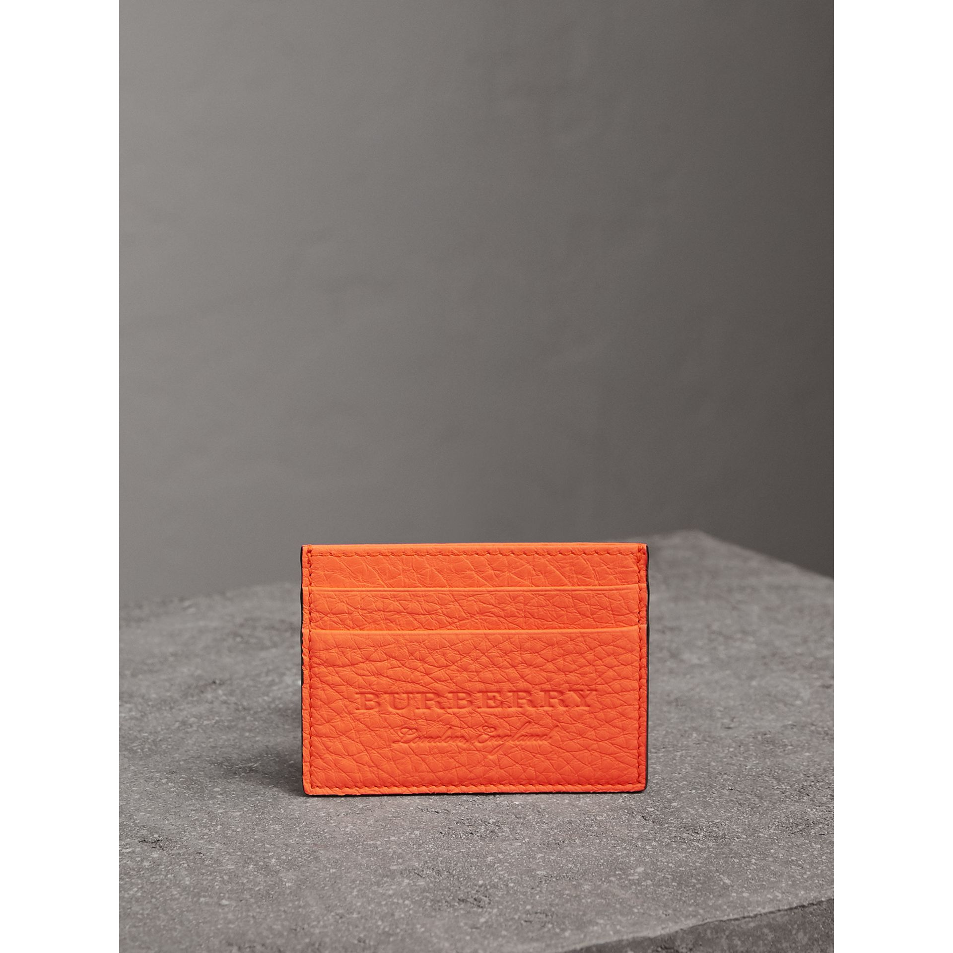 Embossed Textured Leather Card Case in Neon Orange | Burberry - gallery image 3