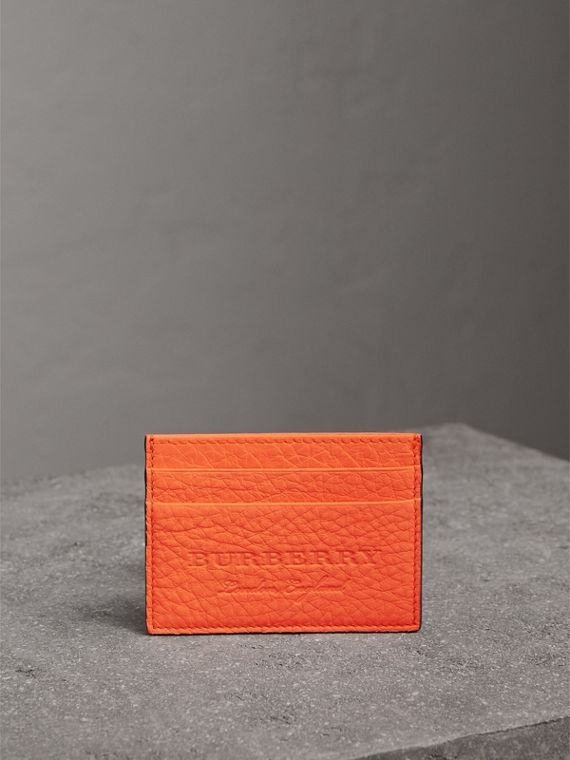 Embossed Textured Leather Card Case in Neon Orange | Burberry - cell image 3