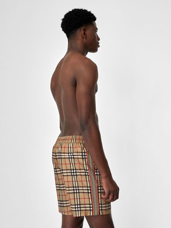 Vintage Check Drawcord Swim Shorts in Archive Beige - Men | Burberry United States - cell image 1