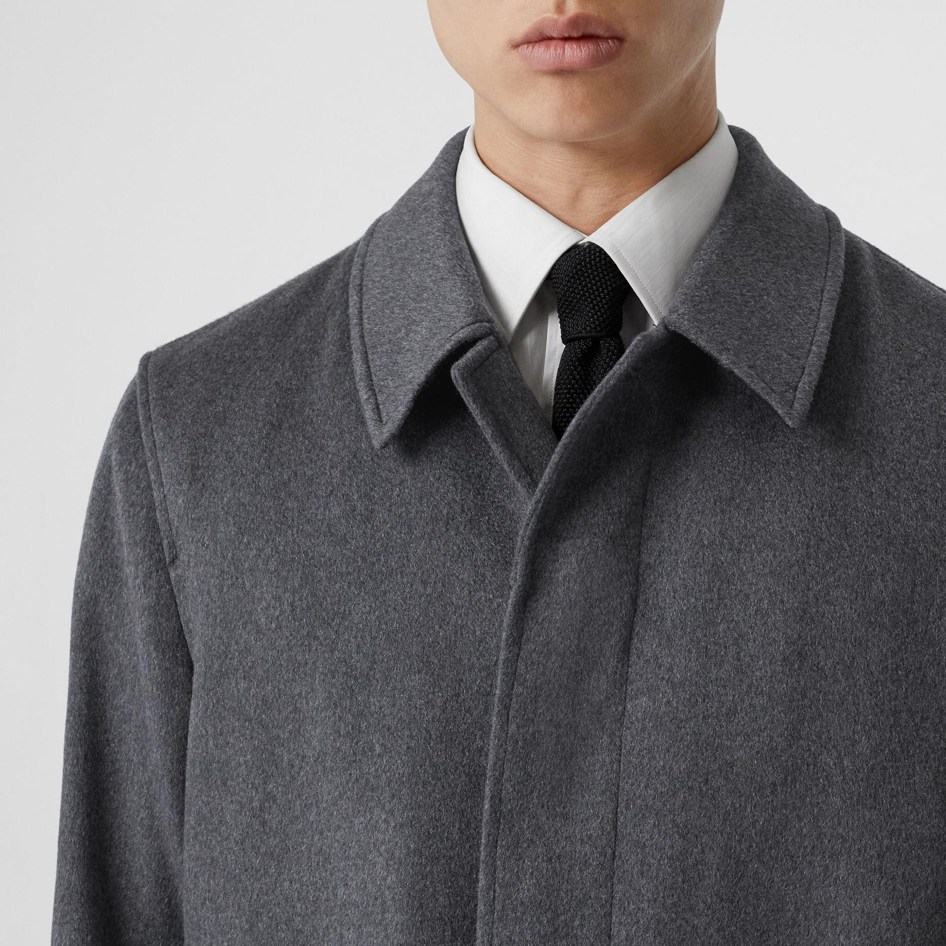 Cashmere Car Coat in Pewter Melange - Men | Burberry - gallery image 1