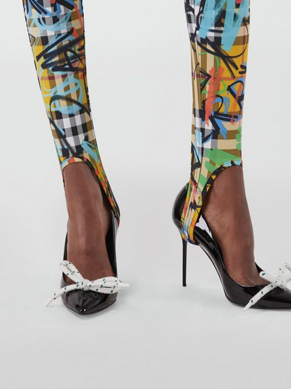 Graffiti Print Vintage Check Leggings in Amber Yellow - Women | Burberry - cell image 1