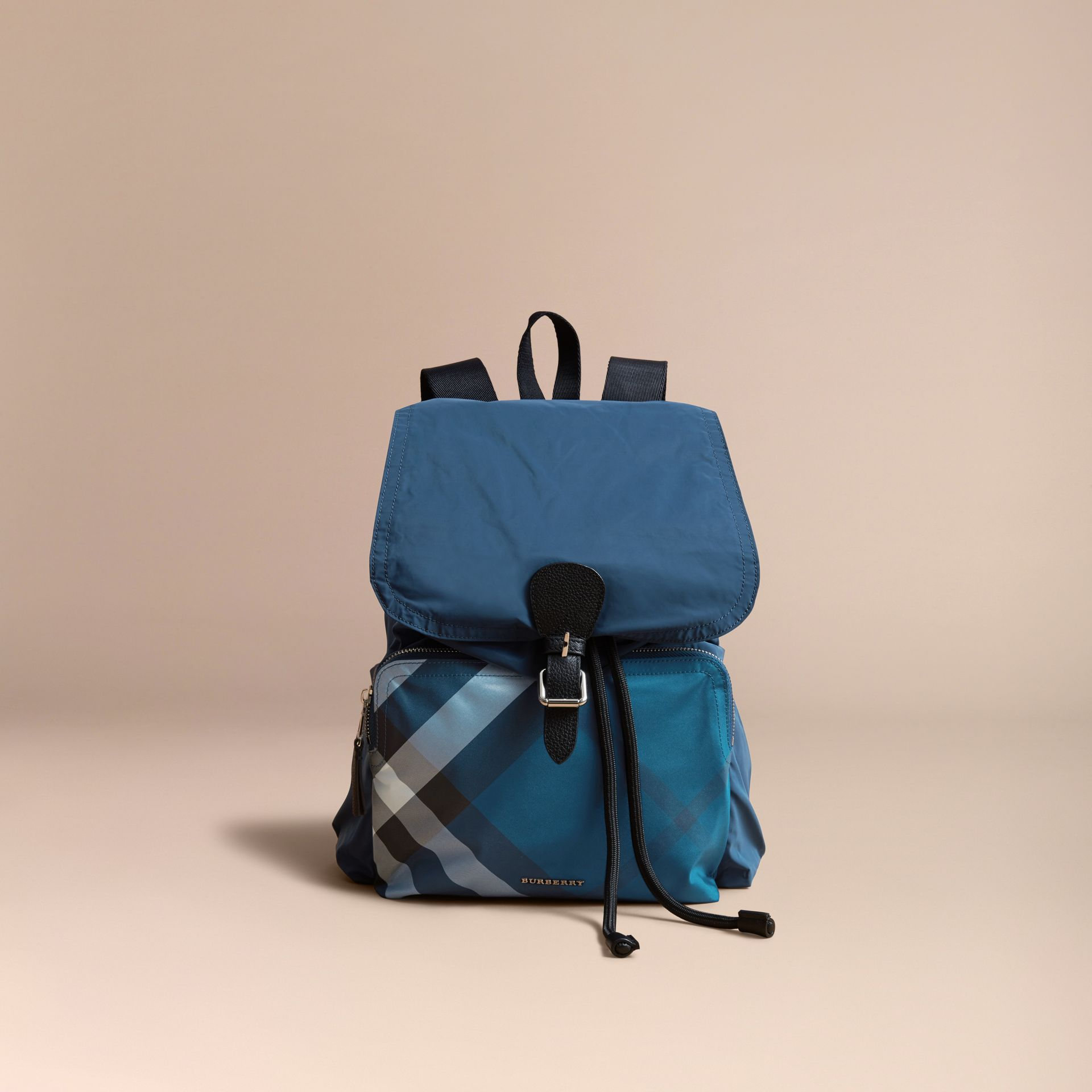 Check Detail Technical Packaway Rucksack Dark Teal Green - gallery image 7