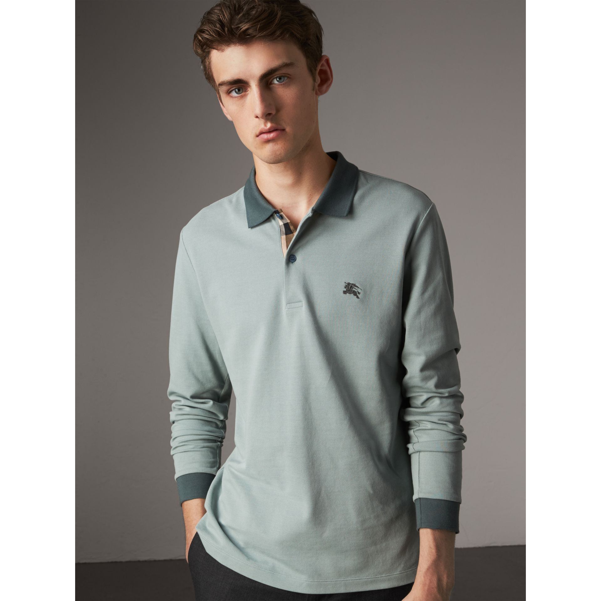 Long-sleeve Cotton Piqué Polo Shirt in Eucalyptus Green - Men | Burberry - gallery image 1