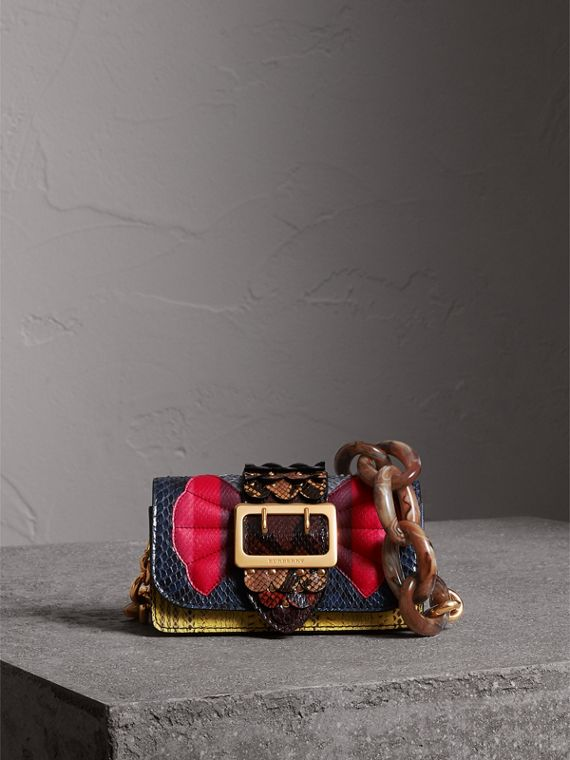 The Small Buckle Bag in Scallop Trim Snakeskin in Yellow