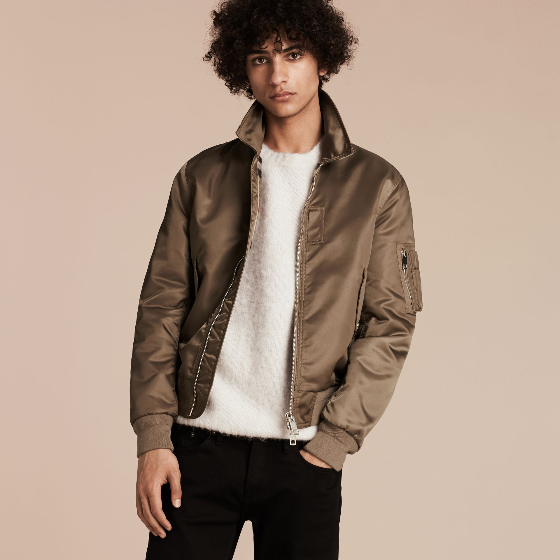 Satin Bomber Jacket with Check Undercollar in Dark Taupe - gallery image 7