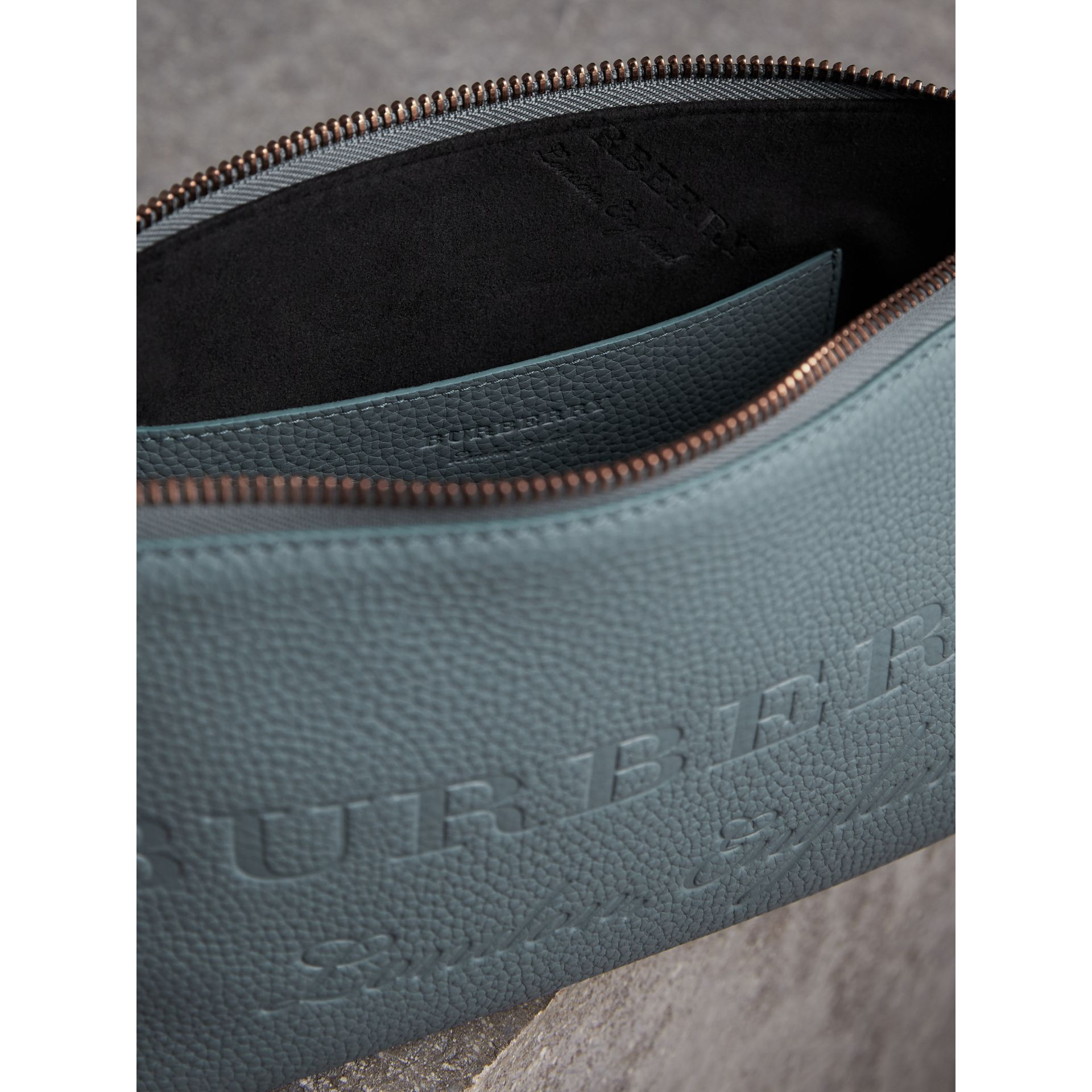 Embossed Leather Clutch Bag in Dusty Teal Blue - Women | Burberry Canada - gallery image 6