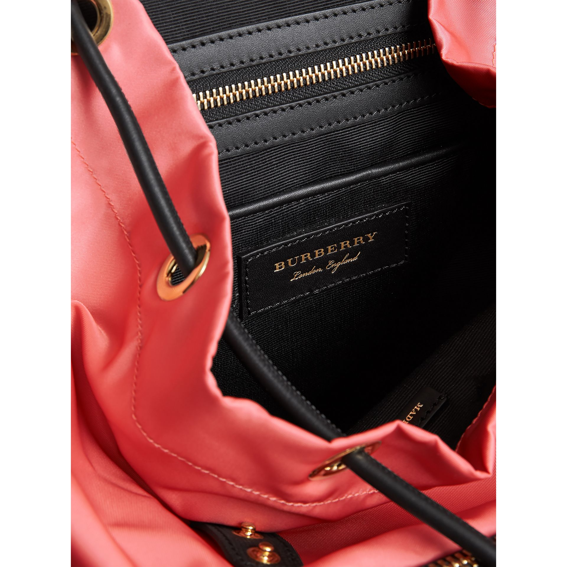 The Medium Rucksack in Technical Nylon and Leather in Bright Coral Pink - Women | Burberry Canada - gallery image 5