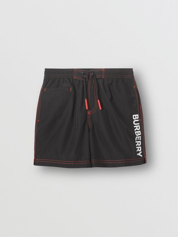 c709e9b671 Logo Print Drawcord Swim Shorts in Black