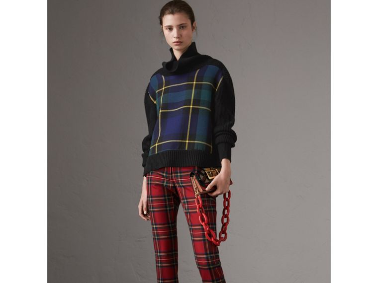 Tartan Panel Wool Cashmere Turtleneck Sweater in Black - Women | Burberry Australia - cell image 4