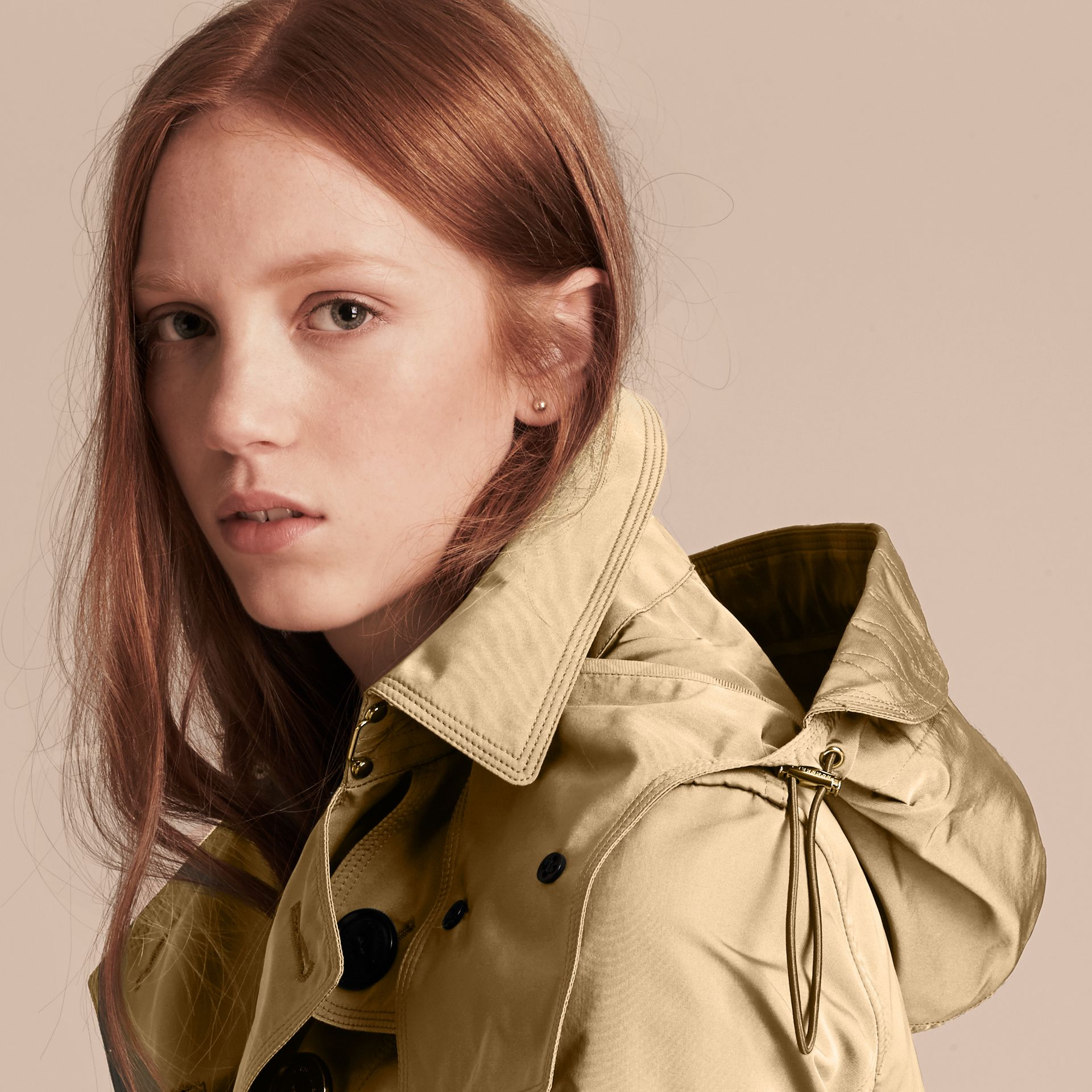 Showerproof Taffeta Trench Jacket with Detachable Hood in Honey - gallery image 6
