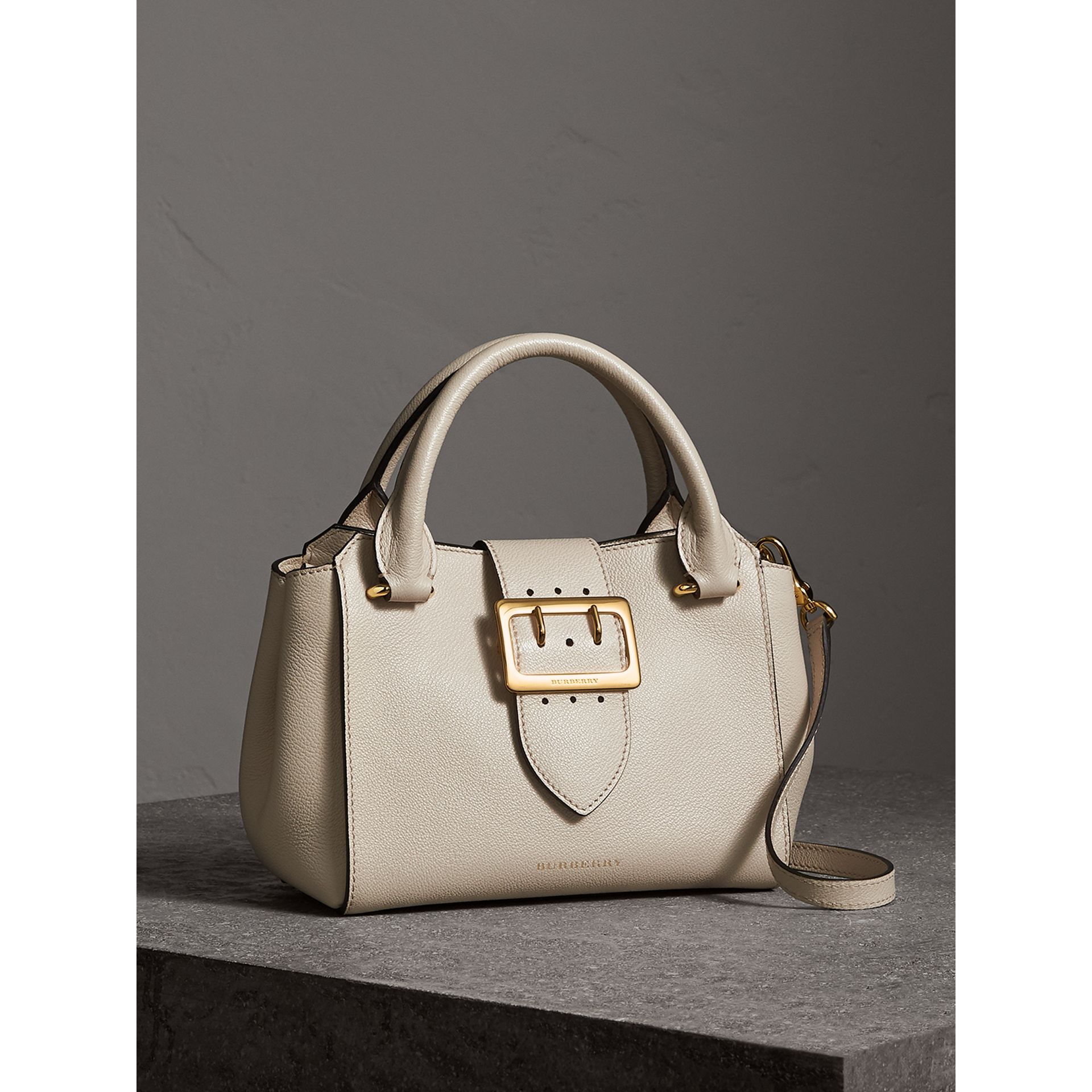 The Small Buckle Tote in Grainy Leather in Limestone - Women | Burberry United Kingdom - gallery image 8