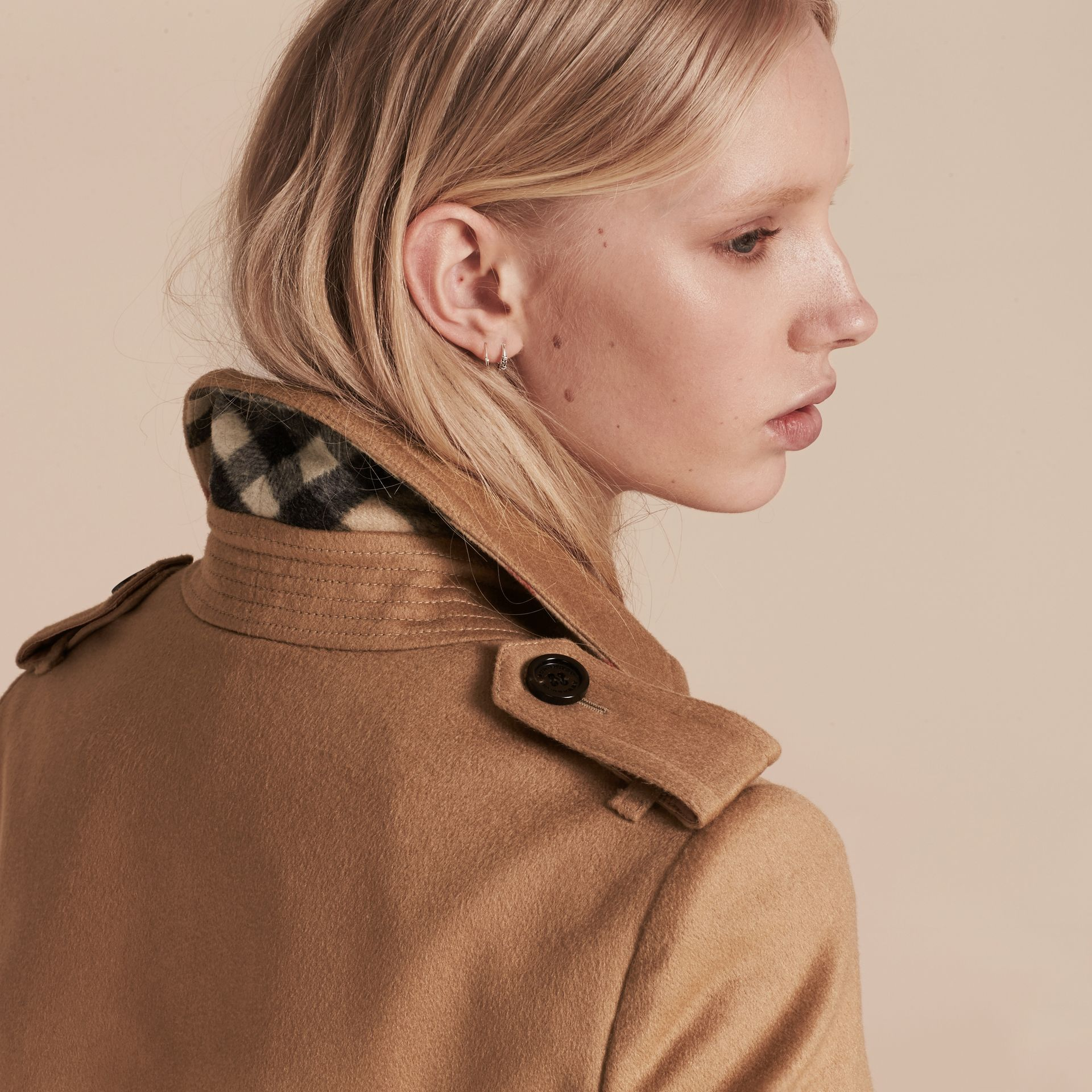 Camel Cashmere Wrap Trench Coat Camel - gallery image 5