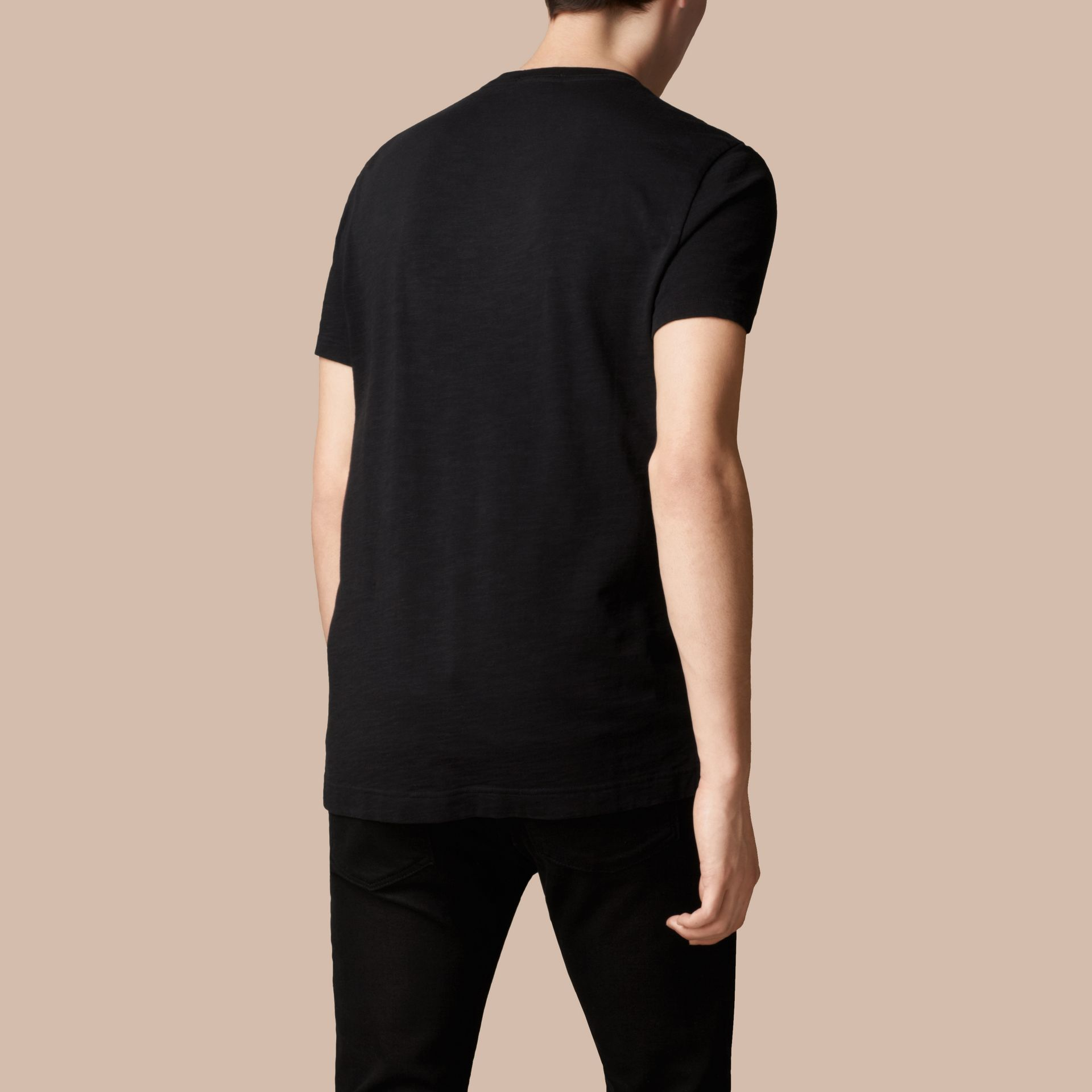 Black Slub Jersey Double Dyed T-Shirt Black - gallery image 3