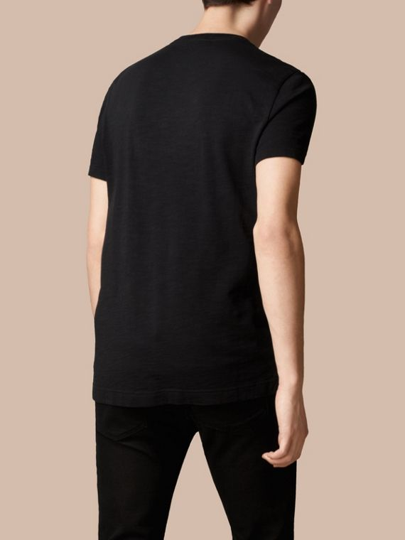 Black Slub Jersey Double Dyed T-Shirt Black - cell image 2