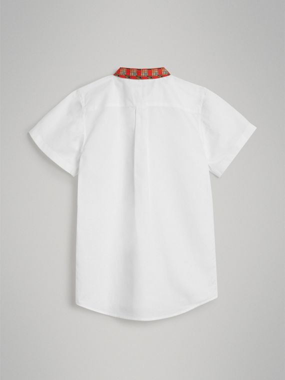 Short-sleeve Tiled Archive Print Collar Cotton Shirt in White - Boy | Burberry Singapore - cell image 3