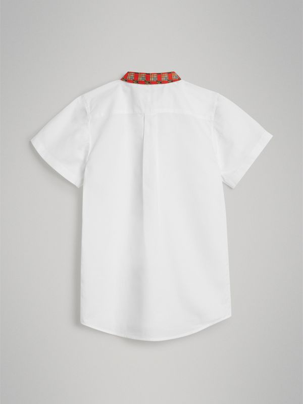 Short-sleeve Tiled Archive Print Collar Cotton Shirt in White | Burberry - cell image 3