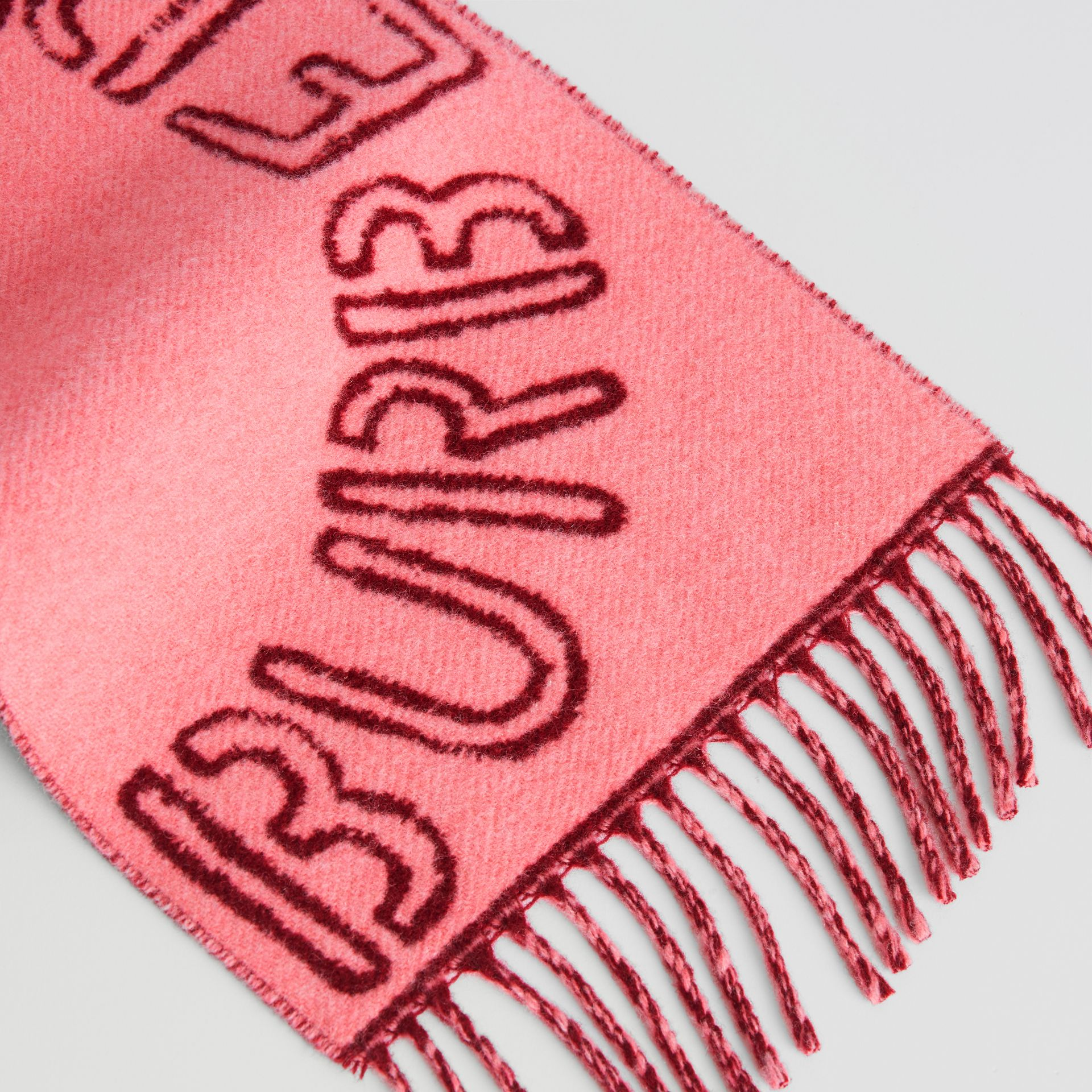 Stencil Logo Wool Cashmere Jacquard Scarf in Bright Rose - Children | Burberry Hong Kong - gallery image 1