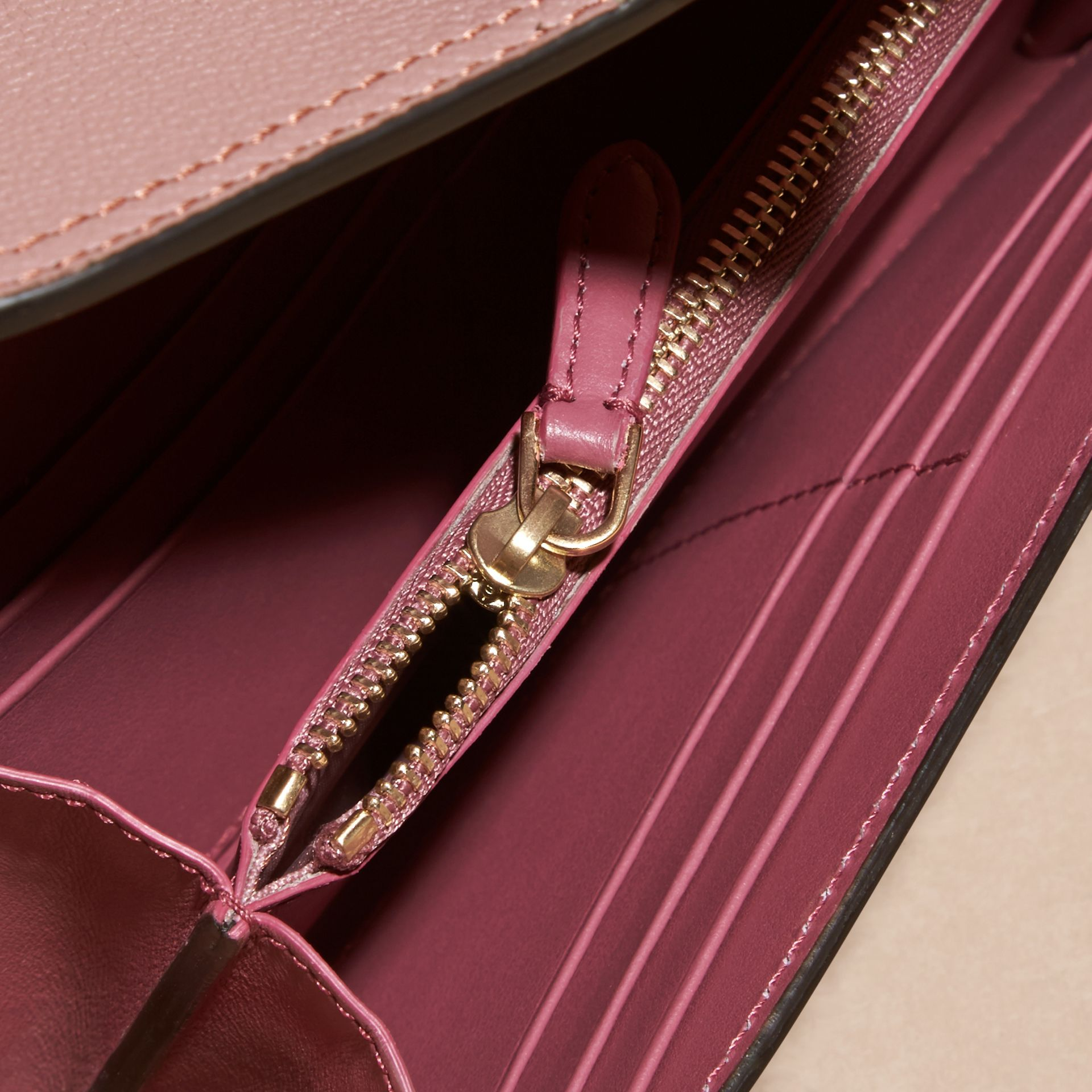 Dusty pink Textured Leather Continental Wallet Dusty Pink - gallery image 5