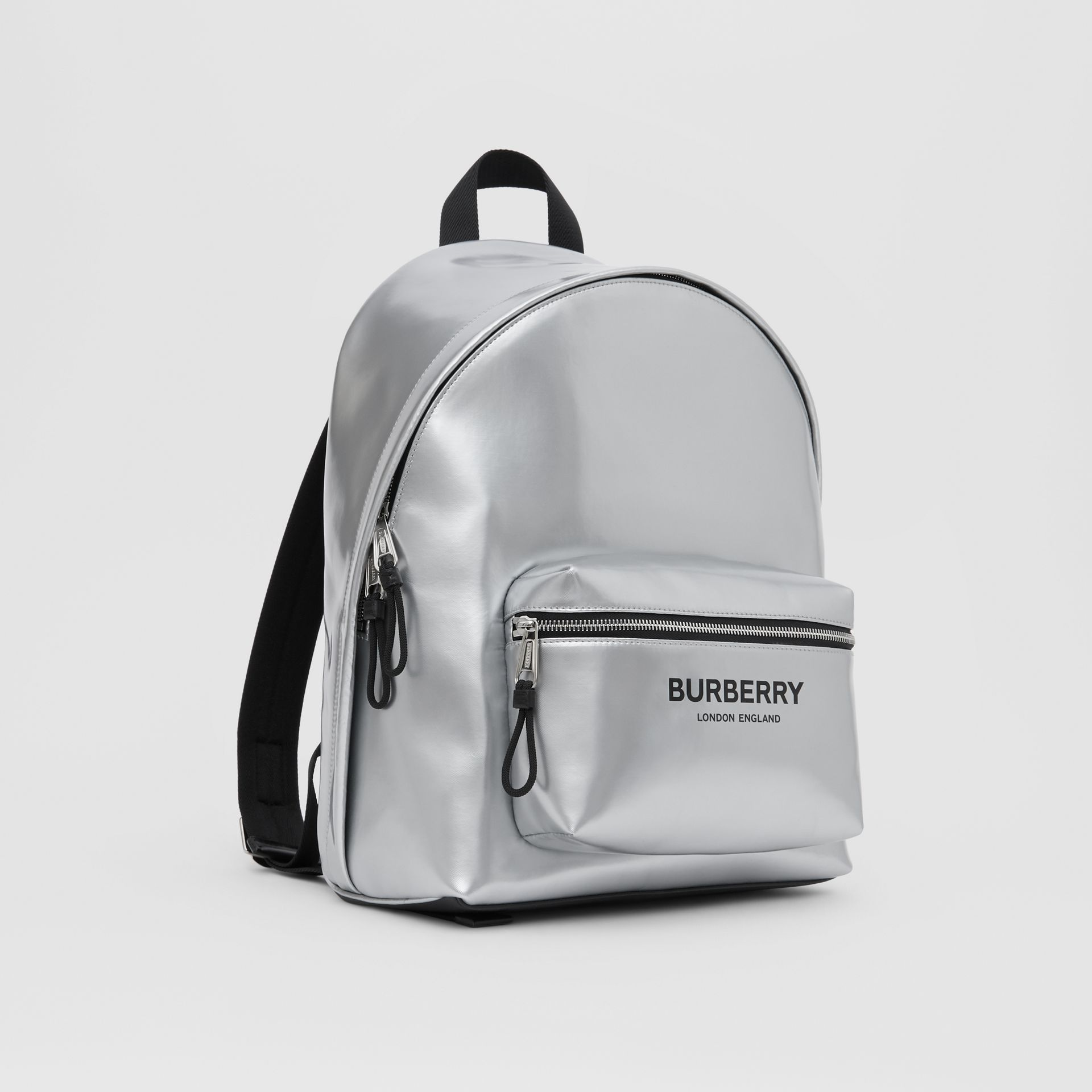 Metallic Coated Canvas Backpack in Silver   Burberry United States - gallery image 6