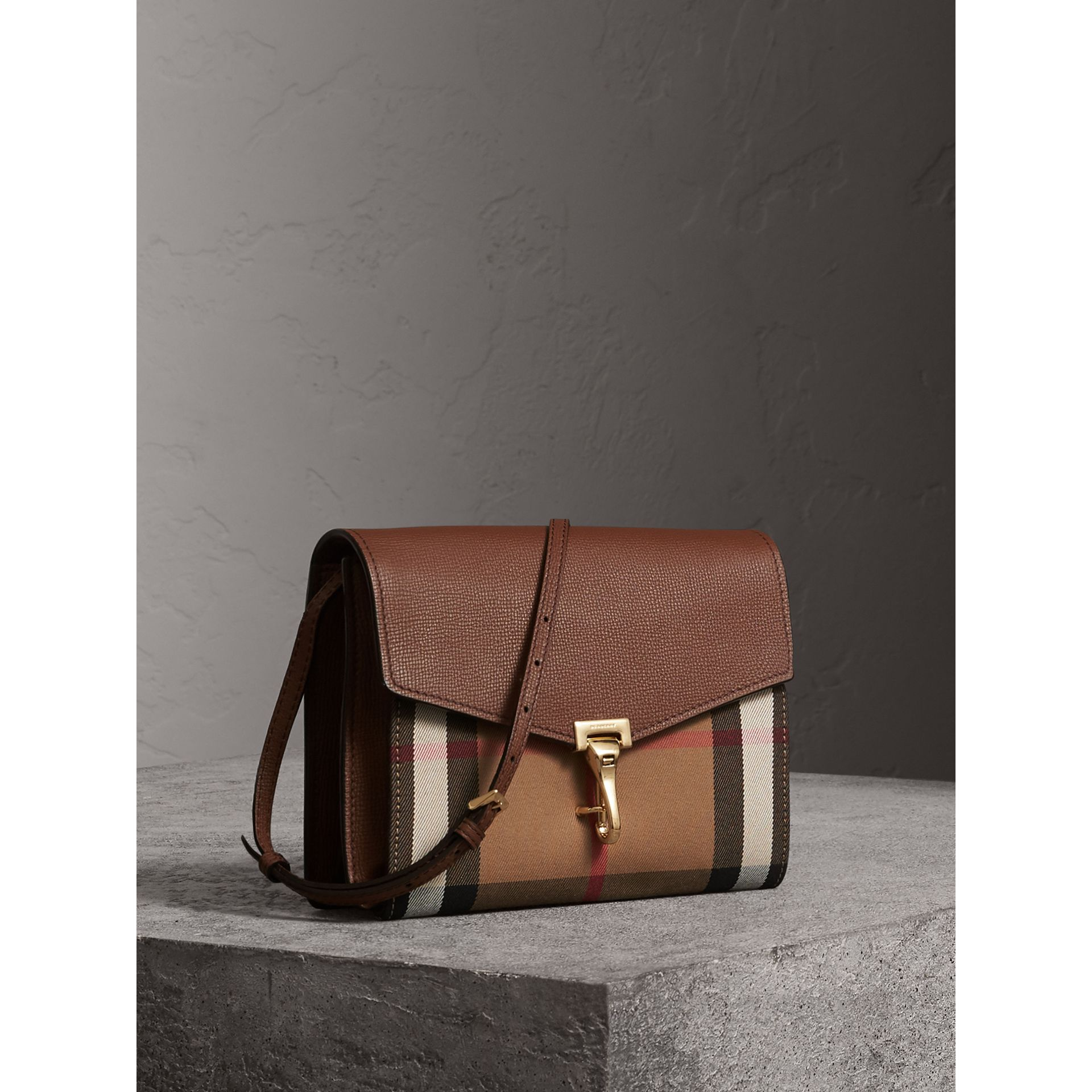 Small Leather and House Check Crossbody Bag in Tan - Women | Burberry - gallery image 6