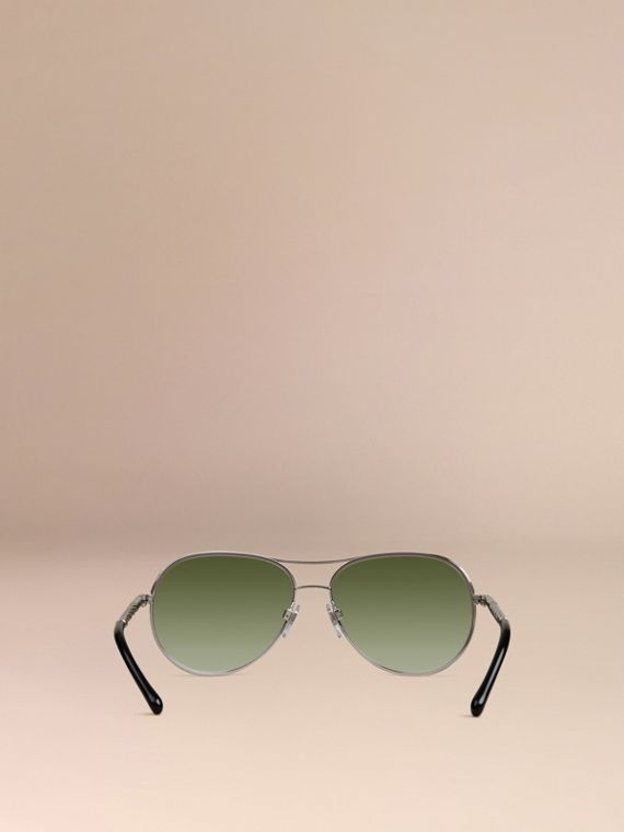 Silver Gabardine Collection Aviator Sunglasses Silver - cell image 2