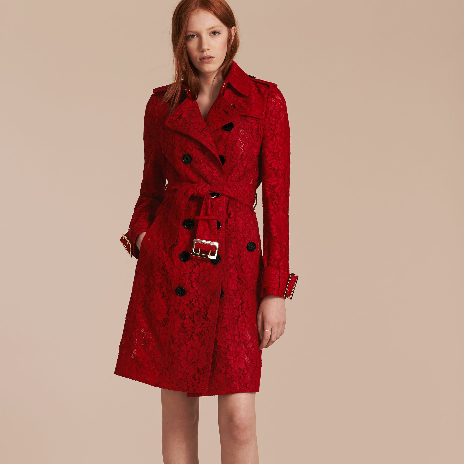 Parade red Lace Trench Coat - gallery image 7