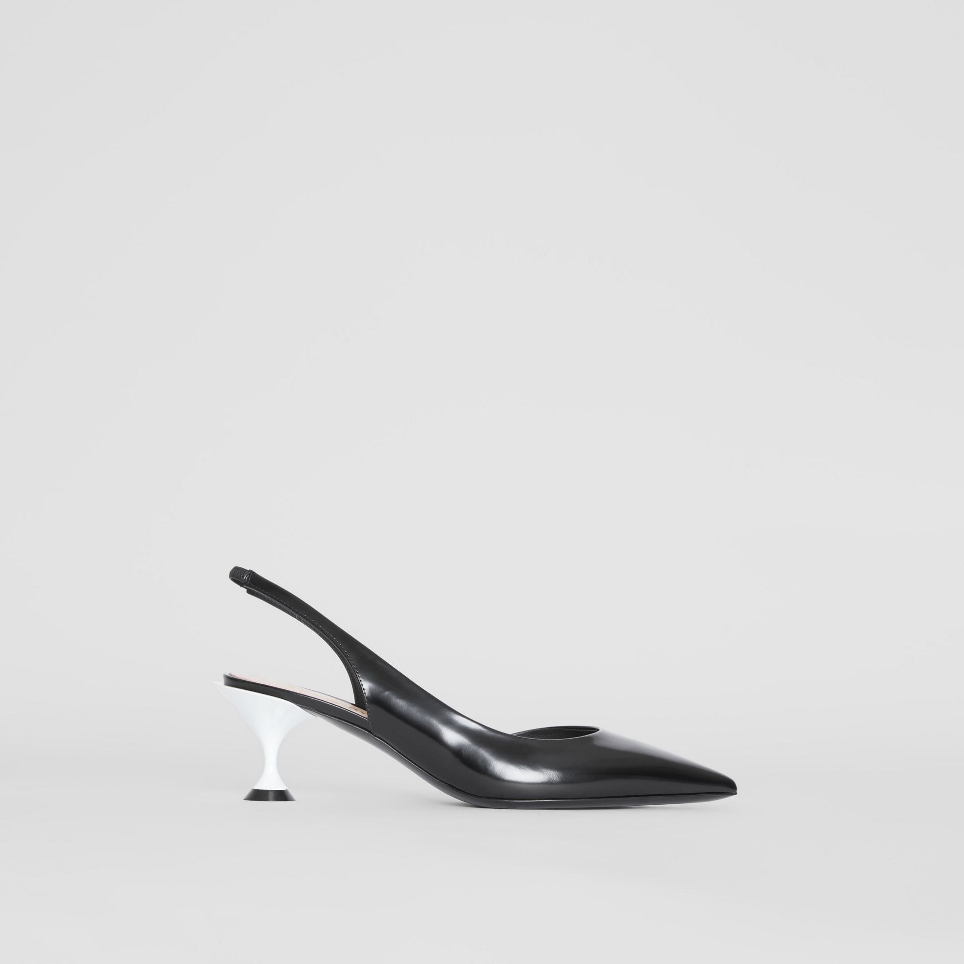 Leather Slingback Pumps in Black - Women | Burberry - gallery image 5