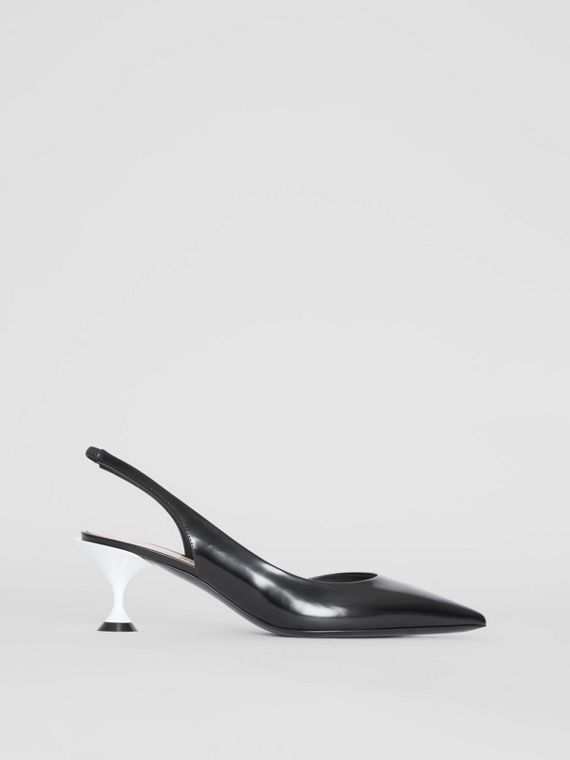 Leather Slingback Pumps in Black