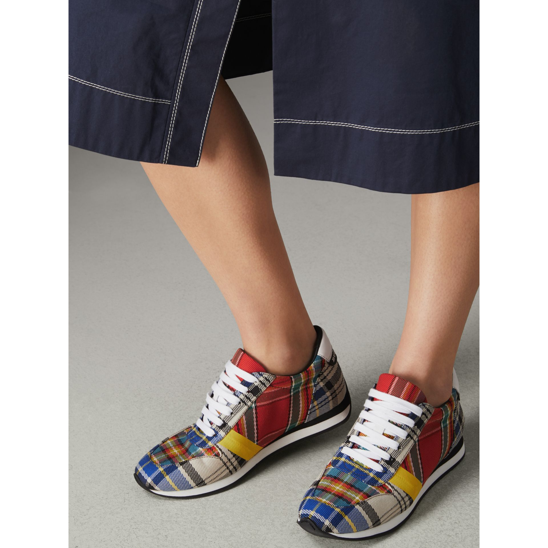 Tartan Cotton Sneakers in Chalk White - Women | Burberry Australia - gallery image 2