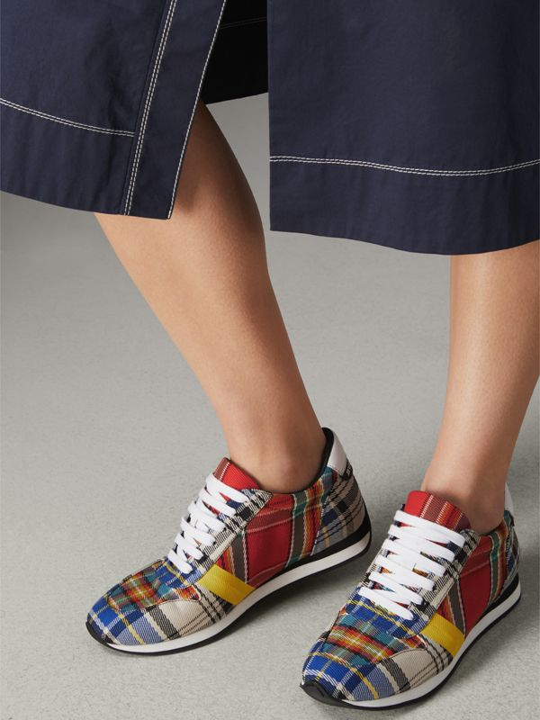 Tartan Cotton Sneakers in Chalk White - Women | Burberry Australia - cell image 2