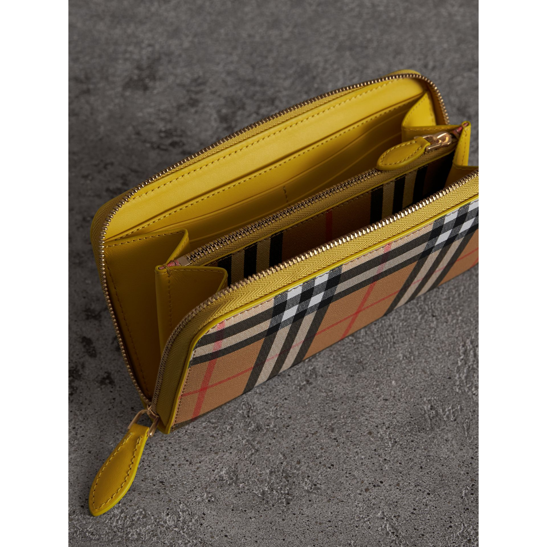 Vintage Check and Leather Ziparound Wallet in Bright Larch Yellow - Women | Burberry Canada - gallery image 3