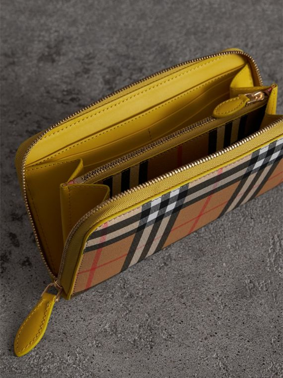 Vintage Check and Leather Ziparound Wallet in Bright Larch Yellow - Women | Burberry United Kingdom - cell image 3