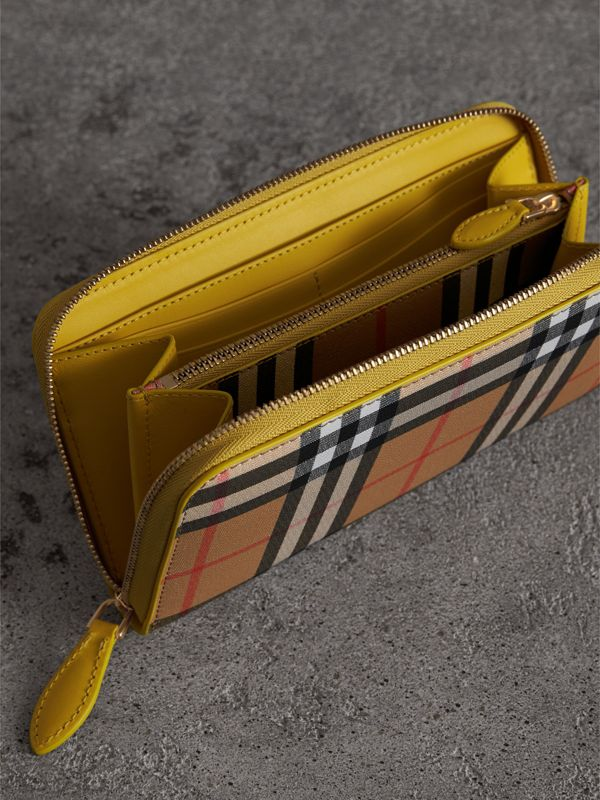 Vintage Check and Leather Ziparound Wallet in Bright Larch Yellow - Women | Burberry - cell image 3