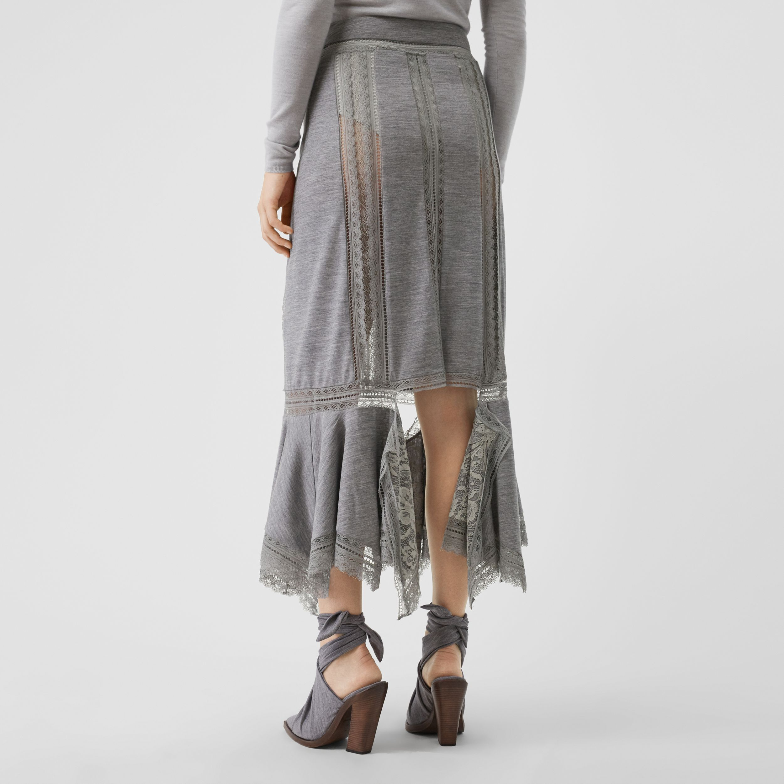 Chantilly Lace and Wool Jersey Skirt in Cloud Grey - Women | Burberry - 3