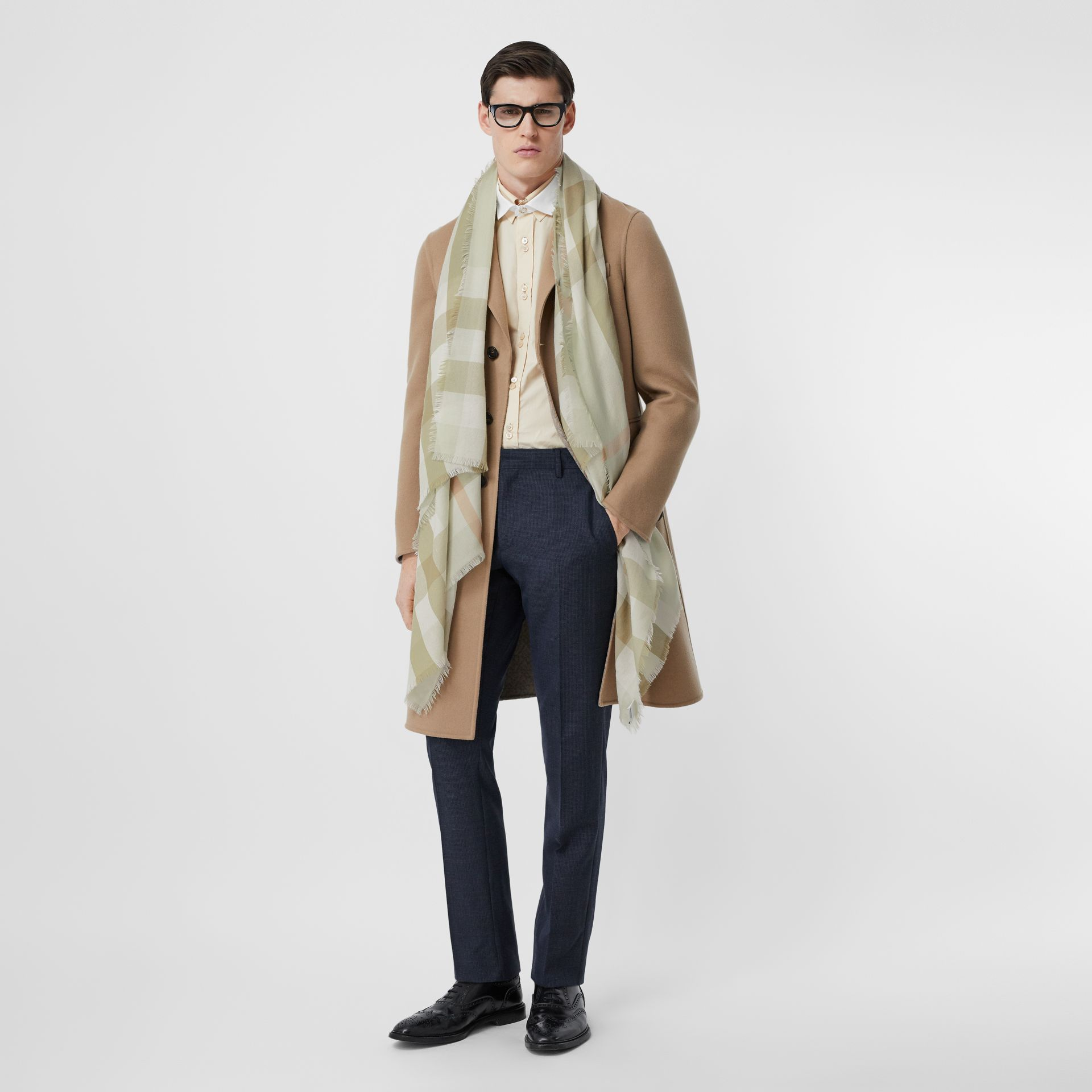 Lightweight Check Cashmere Scarf in Pale Apple Green   Burberry Australia - gallery image 7