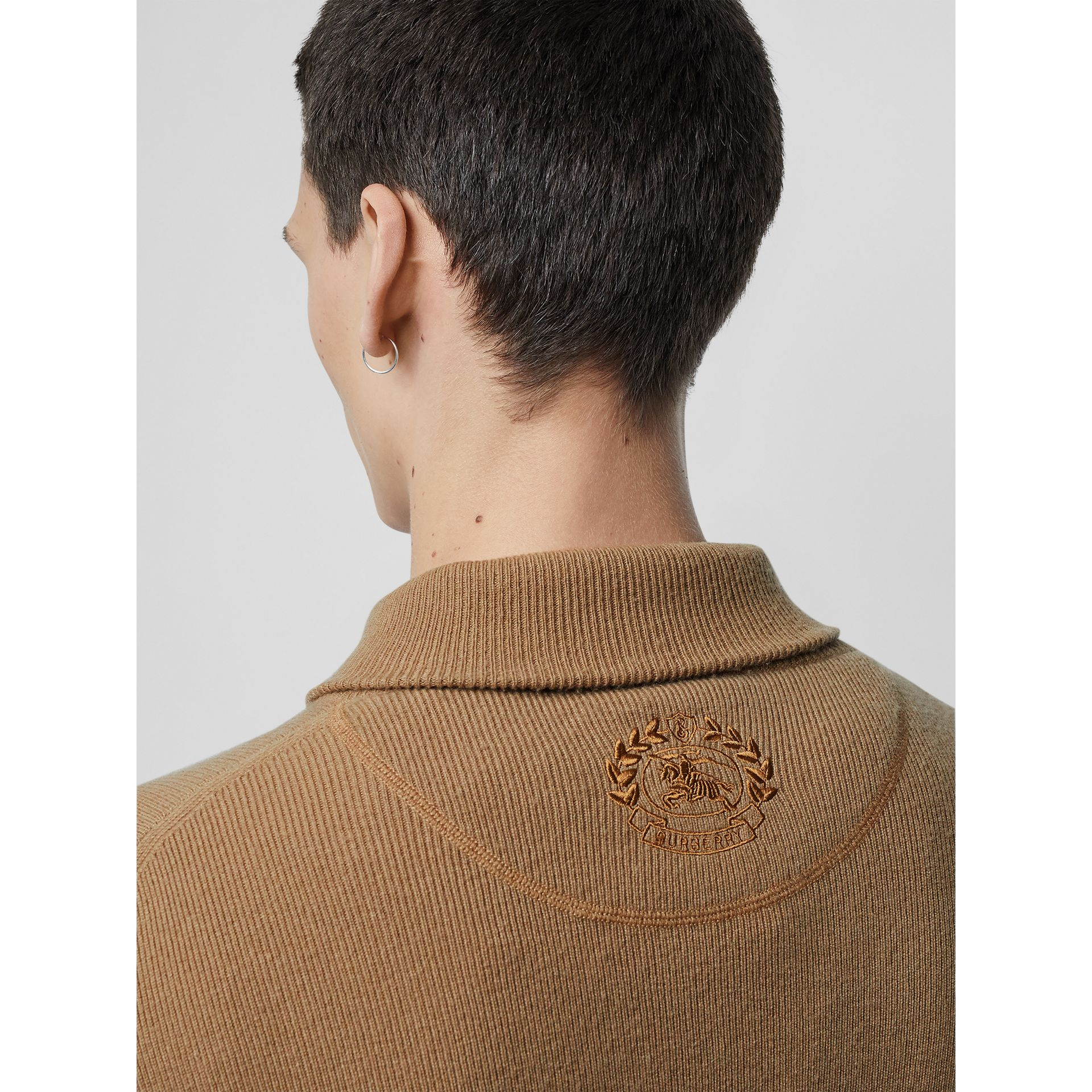 Rib Knit Cashmere Half-zip Sweater in Camel - Men | Burberry United Kingdom - gallery image 1