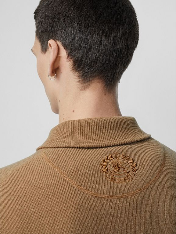 Rib Knit Cashmere Half-zip Sweater in Camel - Men | Burberry United Kingdom - cell image 1