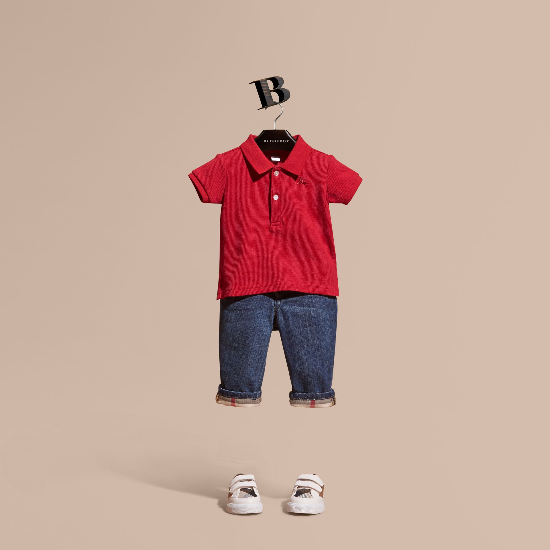 Cotton Piqué Polo Shirt in Military Red | Burberry Canada - gallery image 1