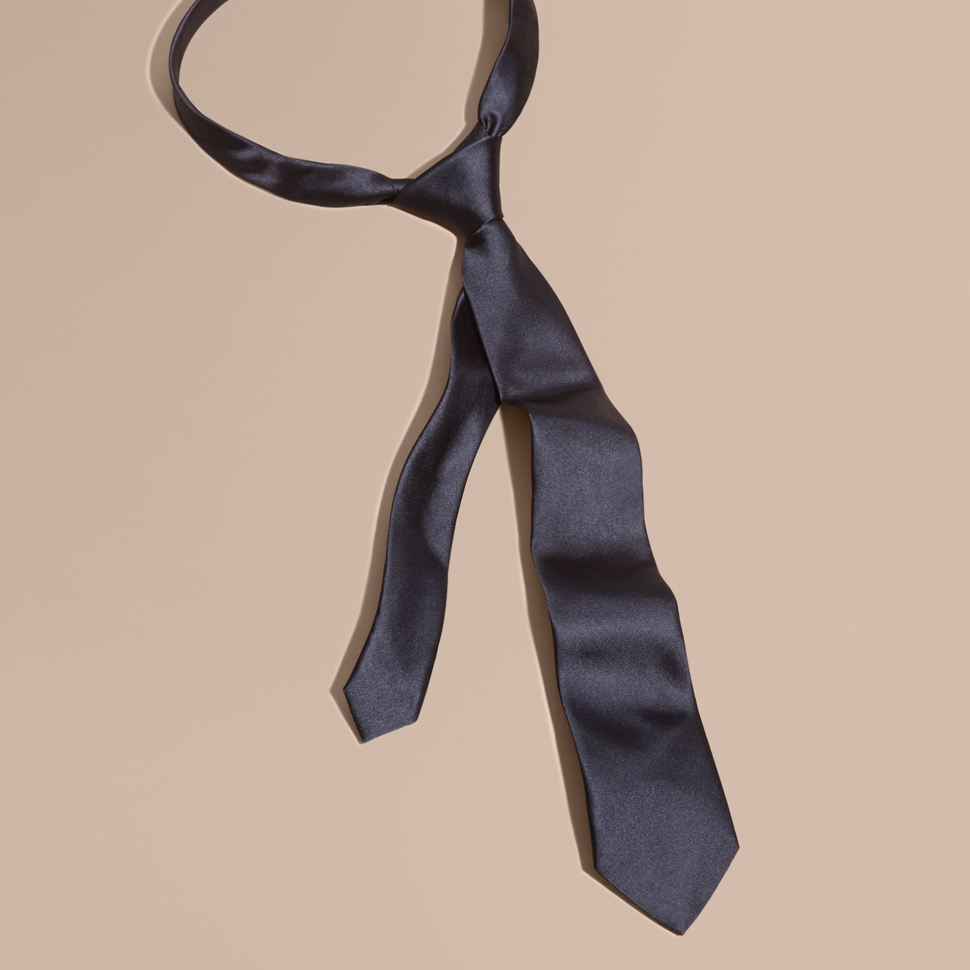 Black ink Modern Cut Silk Tie - gallery image 1