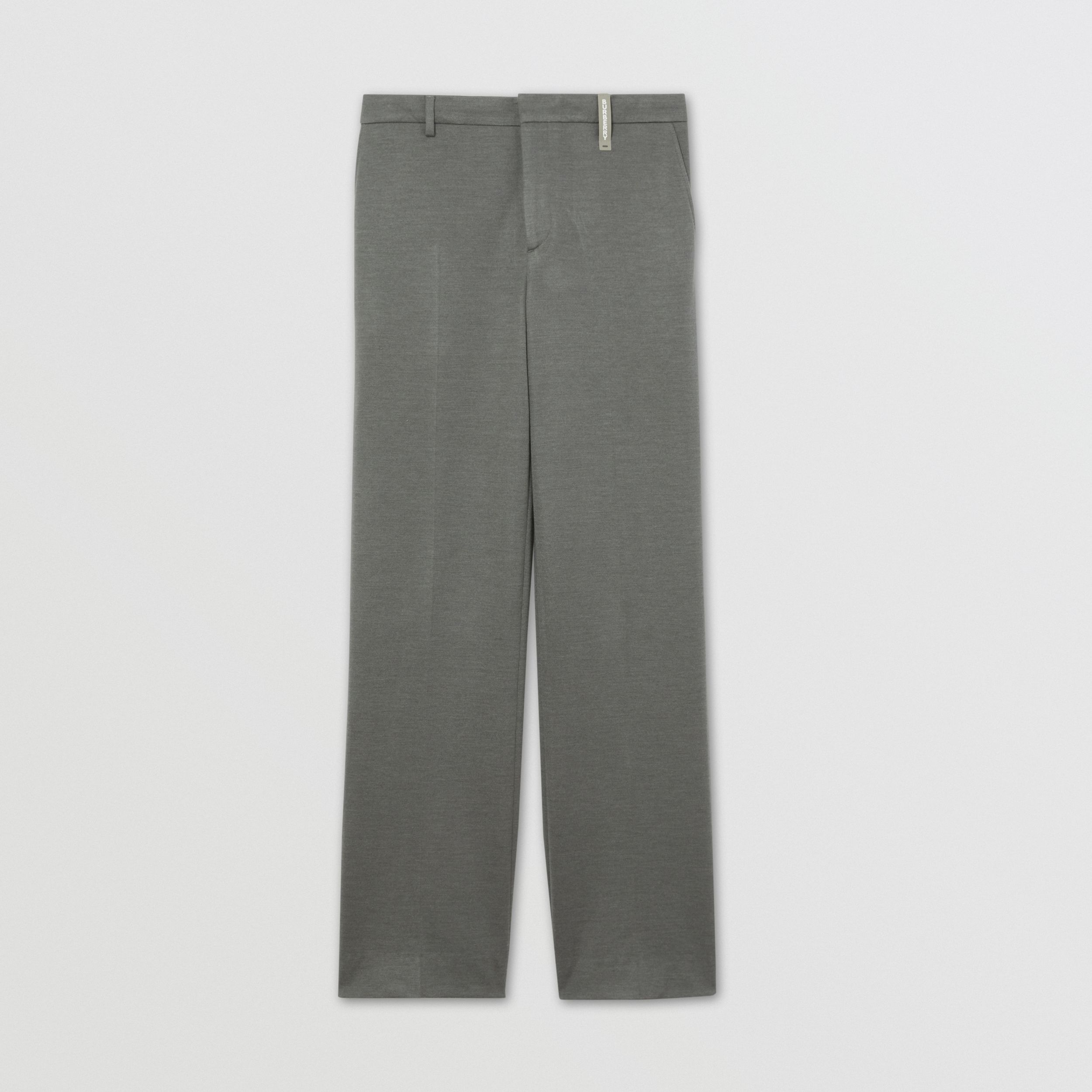 Cashmere Silk Jersey Wide-leg Trousers in Cloud Grey - Men | Burberry - 4