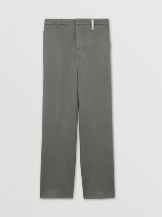 Cashmere Silk Jersey Wide-leg Trousers in Cloud Grey