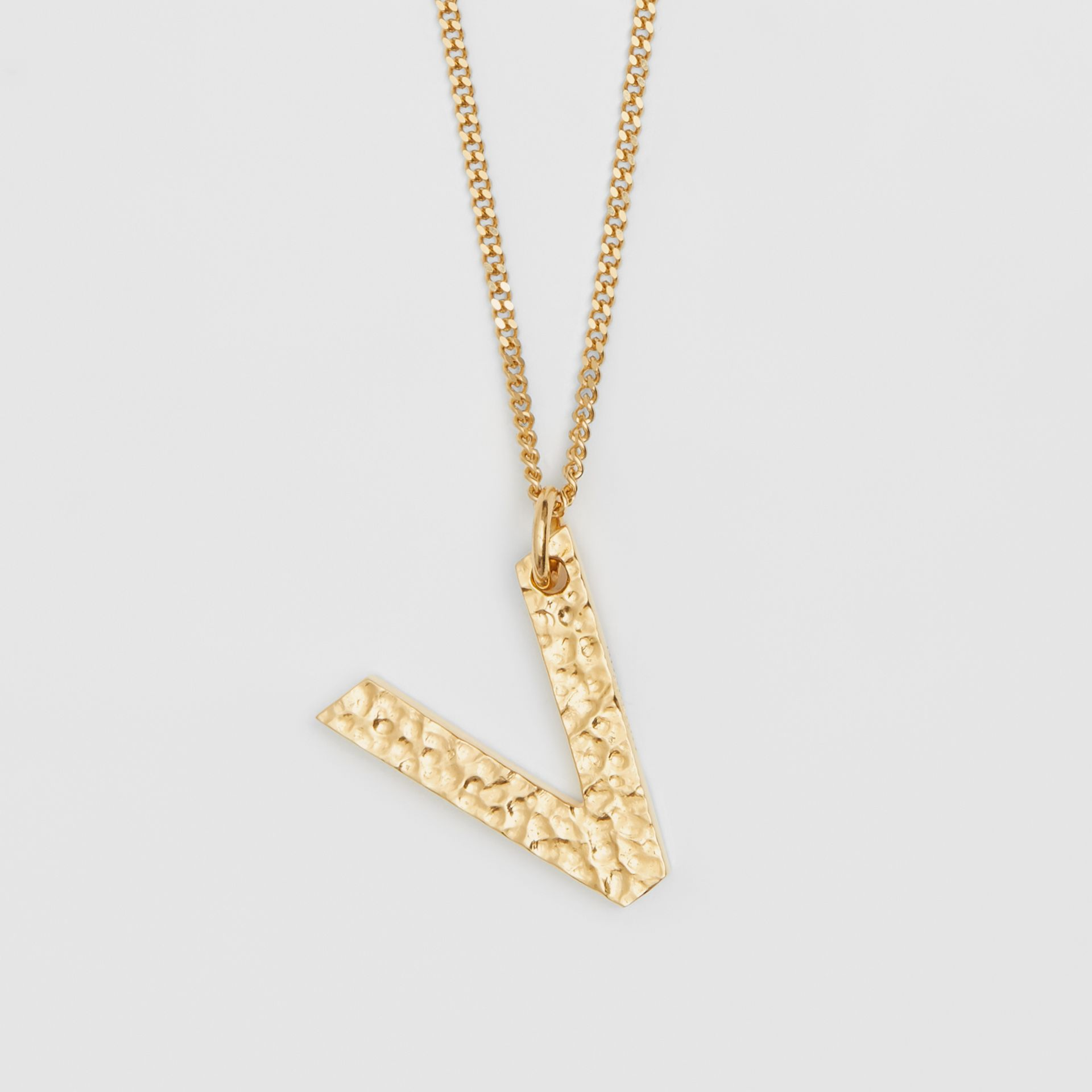 'V' Alphabet Charm Gold-plated Necklace in Light - Women | Burberry United Kingdom - gallery image 2