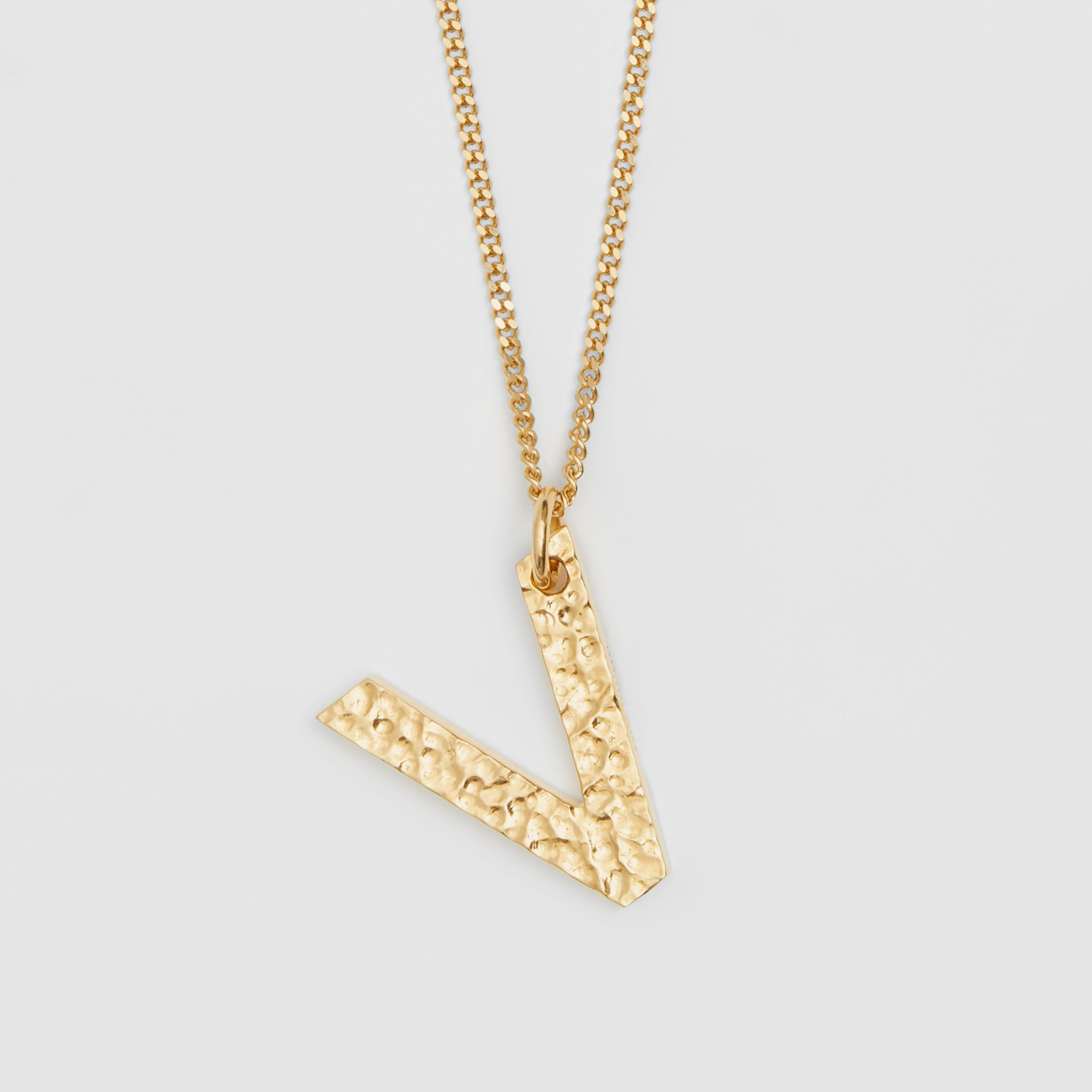 'V' Alphabet Charm Gold-plated Necklace in Light - Women | Burberry - 3