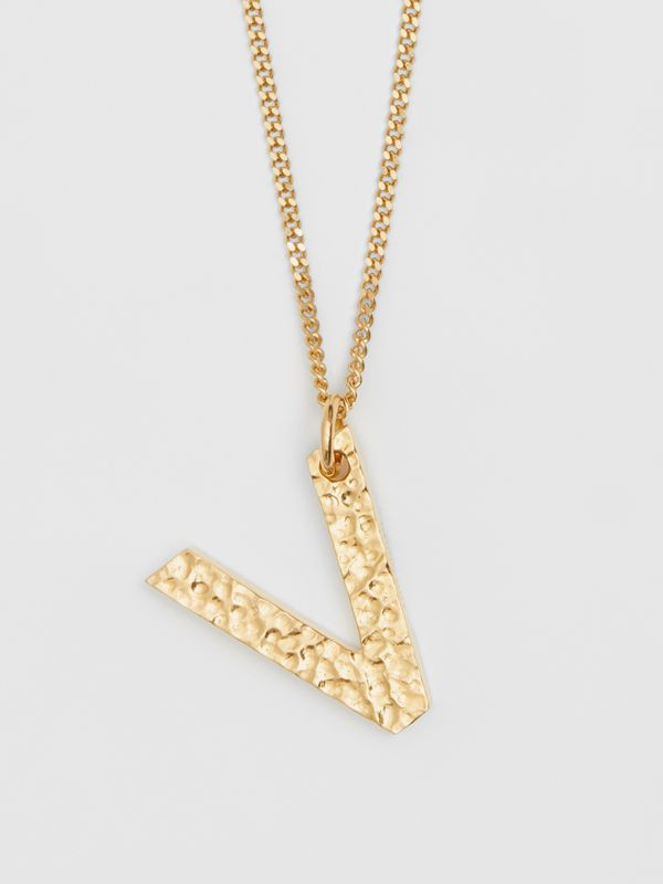 'V' Alphabet Charm Gold-plated Necklace in Light - Women | Burberry United Kingdom - cell image 2