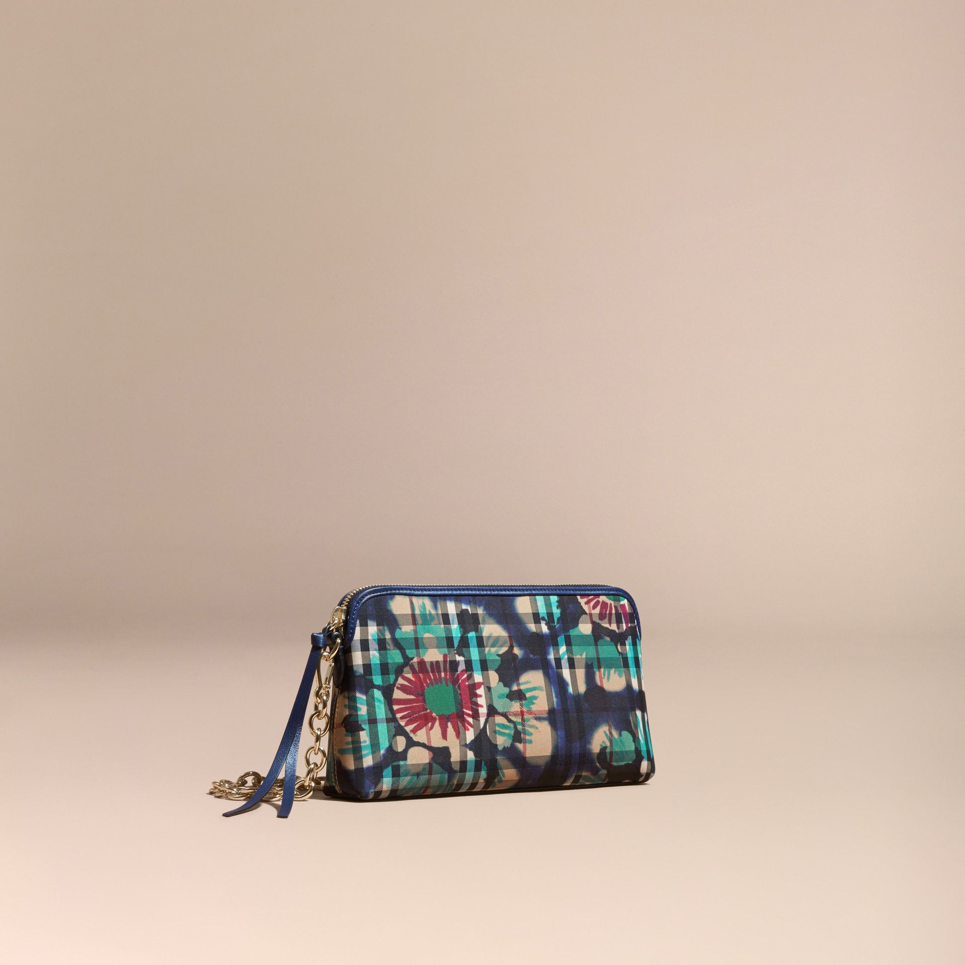 Navy/brilliant navy Tie-dye Print Horseferry Check and Leather Clutch Bag Navy/brilliant Navy - gallery image 1