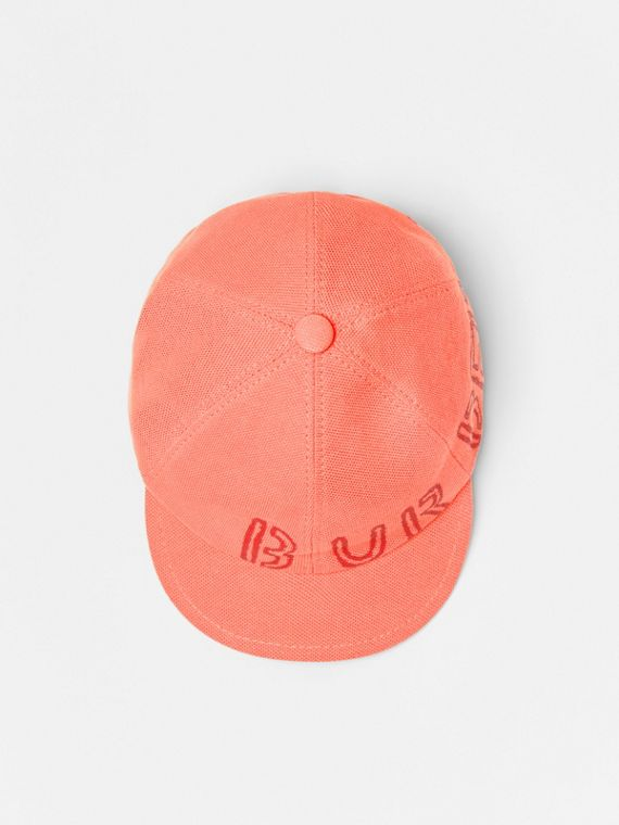 Stencil Logo Print Baseball Cap in Bright Pink/bright Red