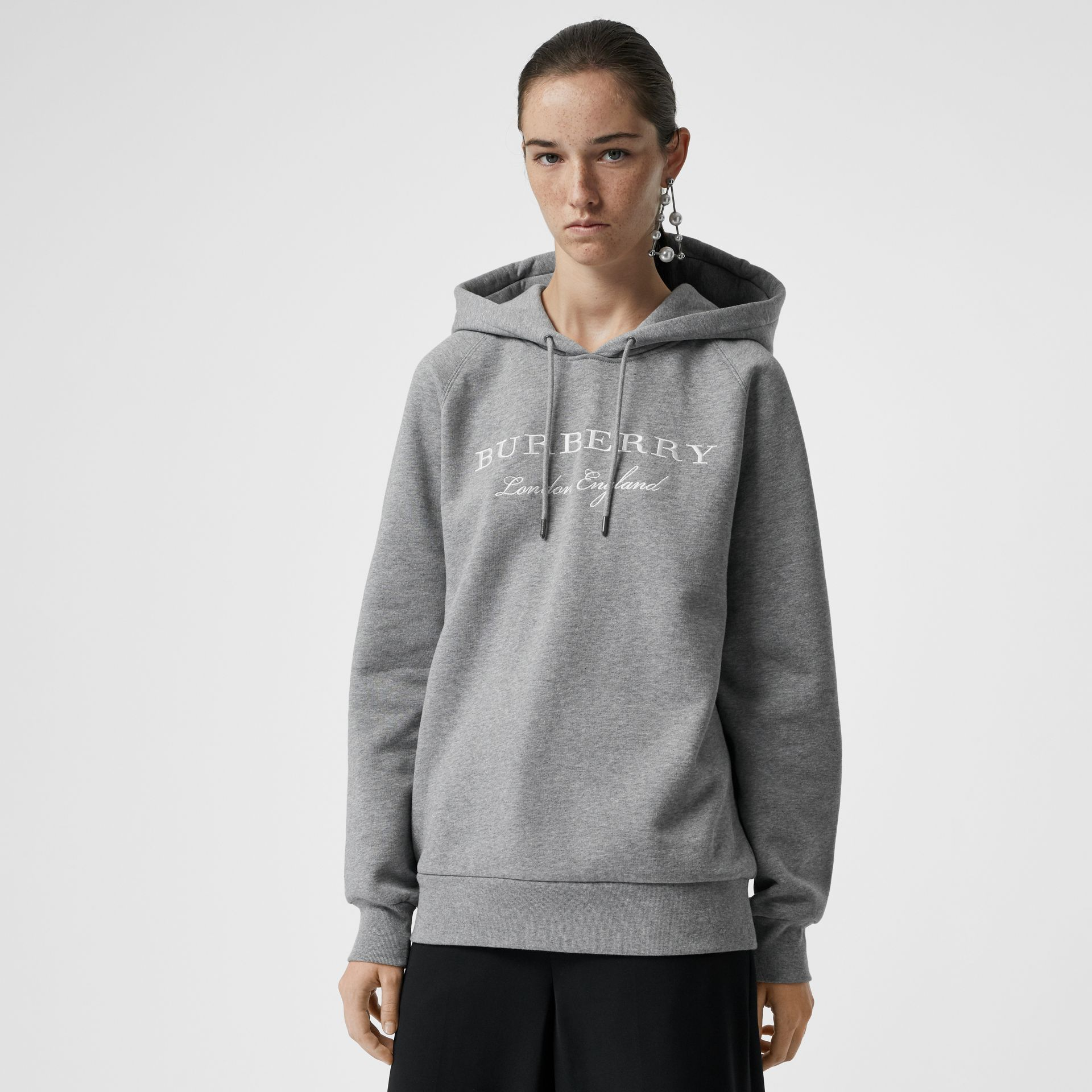 Embroidered Hooded Sweatshirt in Pale Grey Melange - Women | Burberry Canada - gallery image 4