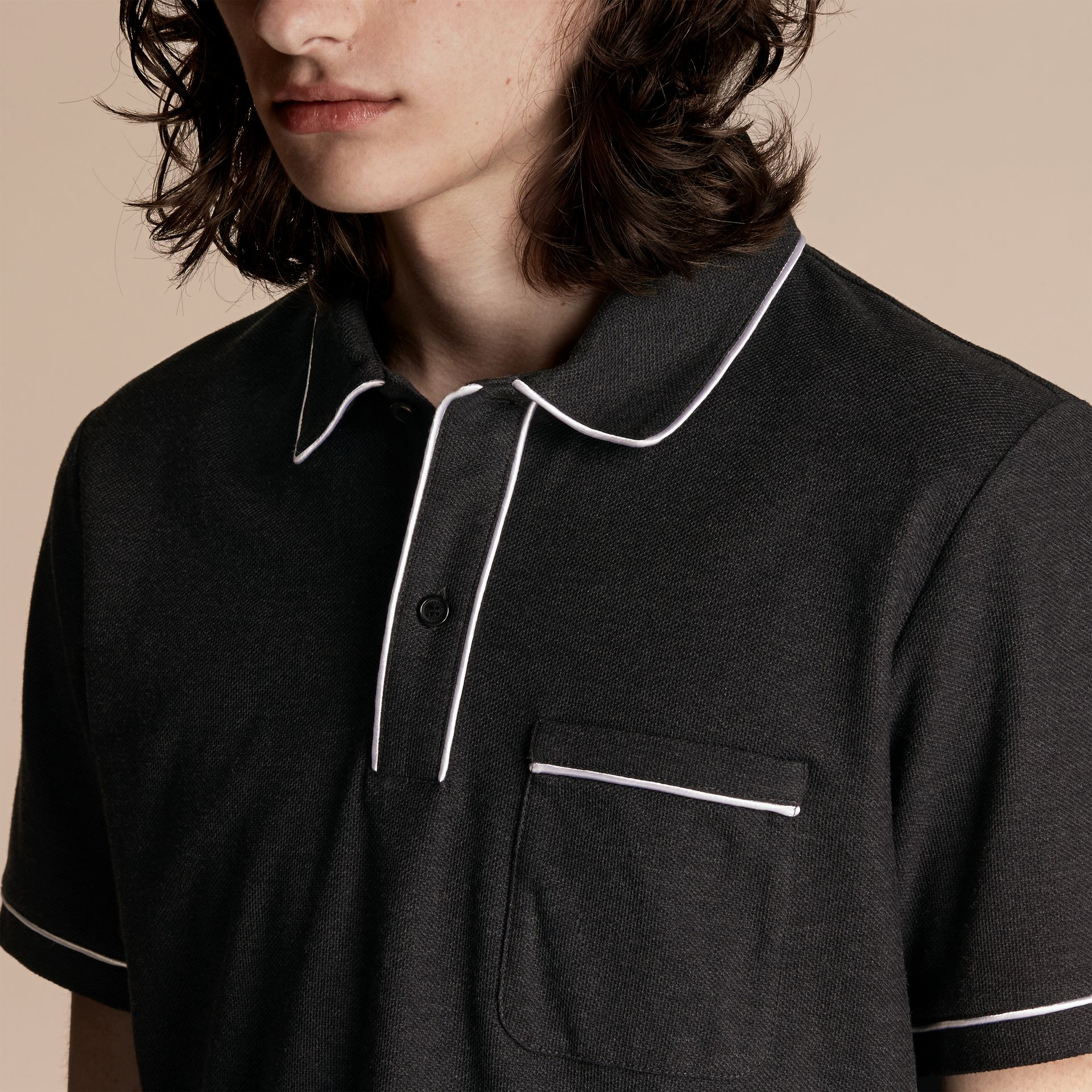 Charcoal Piped Cotton Piqué Polo Shirt Charcoal - gallery image 5